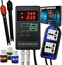 2 in 1 Digital pH and ORP Controller with Separate Relays Repleaceable Electrode BNC Type Probe Water Quality Tester for Aquarium Hydroponics Tank Monitor 14.00pH / 1999mV Calibration Solution