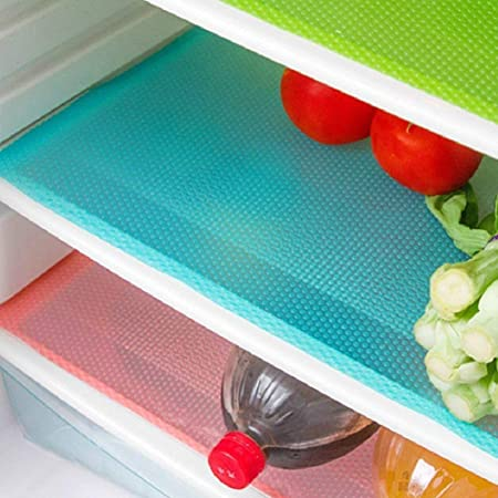 """seaped 5 Pcs Refrigerator Mats,EVA Refrigerator Liners Washable Can Be Cut Refrigerator Pads Fridge Mats Drawer Table Placemats,Shelves Drawer Table Mats,Size 17.6""""x11.3"""",Red/1 Green/2 Blue/2"""