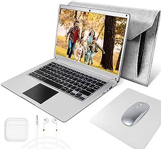 NBD 14 Pouces Ordinateur Portable,Windows 10 Netbook,14'' 1080P Full HD IPS Laptop ,Intel Celeron N3350 4 Go RAM 64 Go Stockage Argent Clavier Français