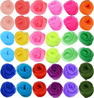 Zhanmai 36 Pieces Square Dance Scarves Juggling Scarf Props Magic Silky Scarves, 24 by 24 Inches (Multicolored)