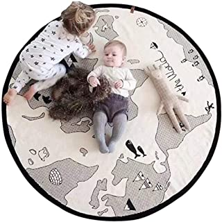 Alfombra de juegos para bebé, lona suave de algodón para bebé, mapa del mundo, alfombra redonda de encaje, alfombra para el suelo, alfombra para el hogar, decoración para niños, dormitorio o regalo