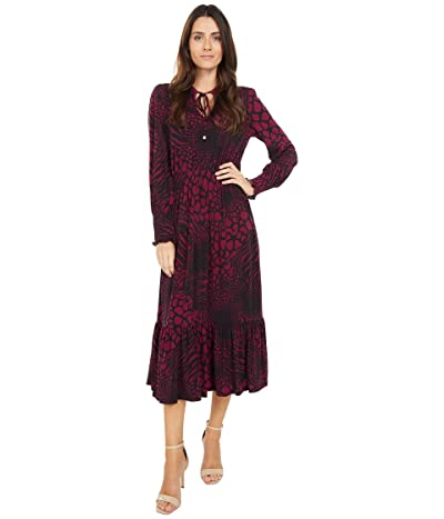 MICHAEL Michael Kors Animal Patchwork Ellip Dress (Dark Ruby) Women