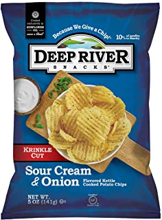 Deep River Snacks Krinkle Cut Chips, Sour Cream and Onion, 5 Ounce (Pack of 12)