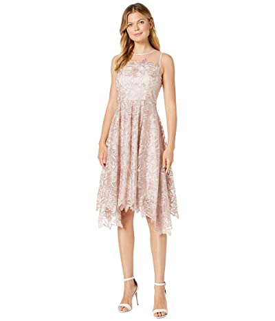 Tahari by ASL Midi Length Novelty Embroidered Dress (Dusty Rose Floral) Women