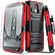 Droid Turbo 2 Case, Evocel [Generation Series] Belt Clip Holster, Kickstand, HD Screen Protector, Dual Layer for Motorola Droid Turbo 2 (XT1585/ 2015 Release), Red (EVO-MOTXT1585-AB203)