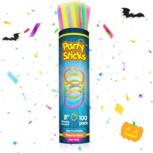 PartySticks Glow Sticks Party Supplies 100pk - 8 Inch Glow in the Dark Light Up Sticks Party Favors, Glow Party Decor...