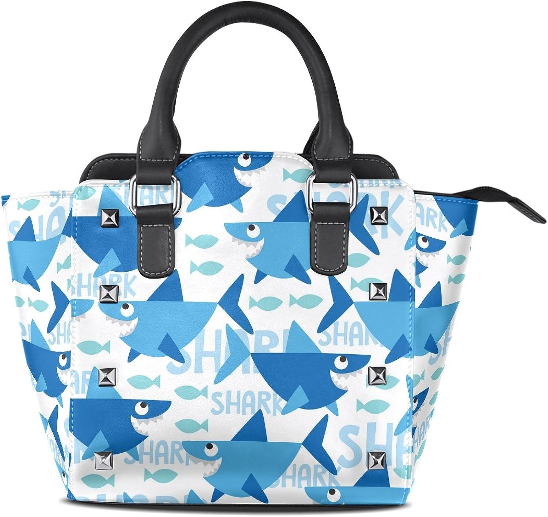 My Little Nest Women's Top Handle Satchel Handbag Cartoon bluee Sharks Ladies PU Leather Shoulder Bag Crossbody Bag