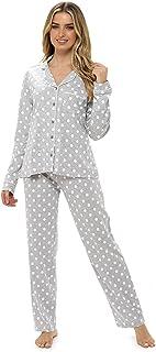 Ladies Button Front Cotton Pyjamas Polka Dot