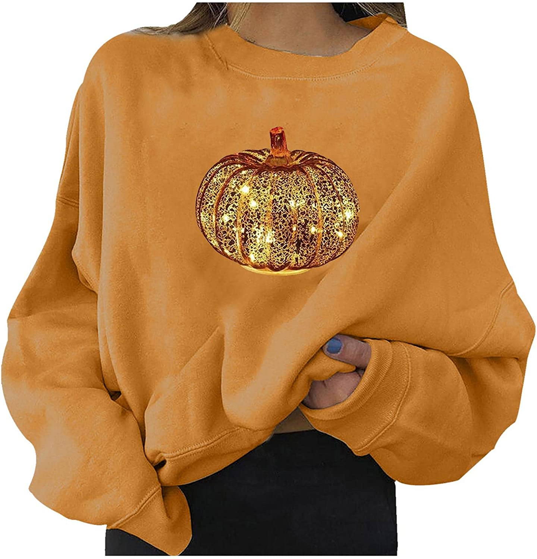 Halloween Women Shirt Cute Pumpkin Ghost Black Cat Bat Print Casual Sweatshirts Long Sleeve Crewneck Pullover Sweaters Tees