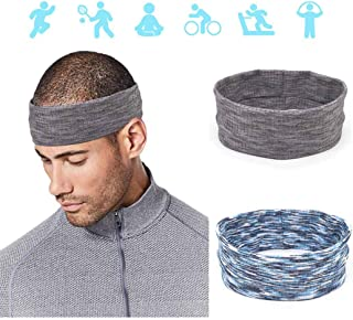 Fstrend Sports Stretchy Athletic Head bands Tennis Exercise Non slip Sweatband Gym Running Head Wrap Work outs Hair Band Accessories for Men and Boys(pack of 2)