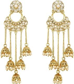 Ratna Exclusive Gold Plated American Diamond Stone Gold Line Jhumki Earrings Dangle Drop Traditional Fashion jewelry