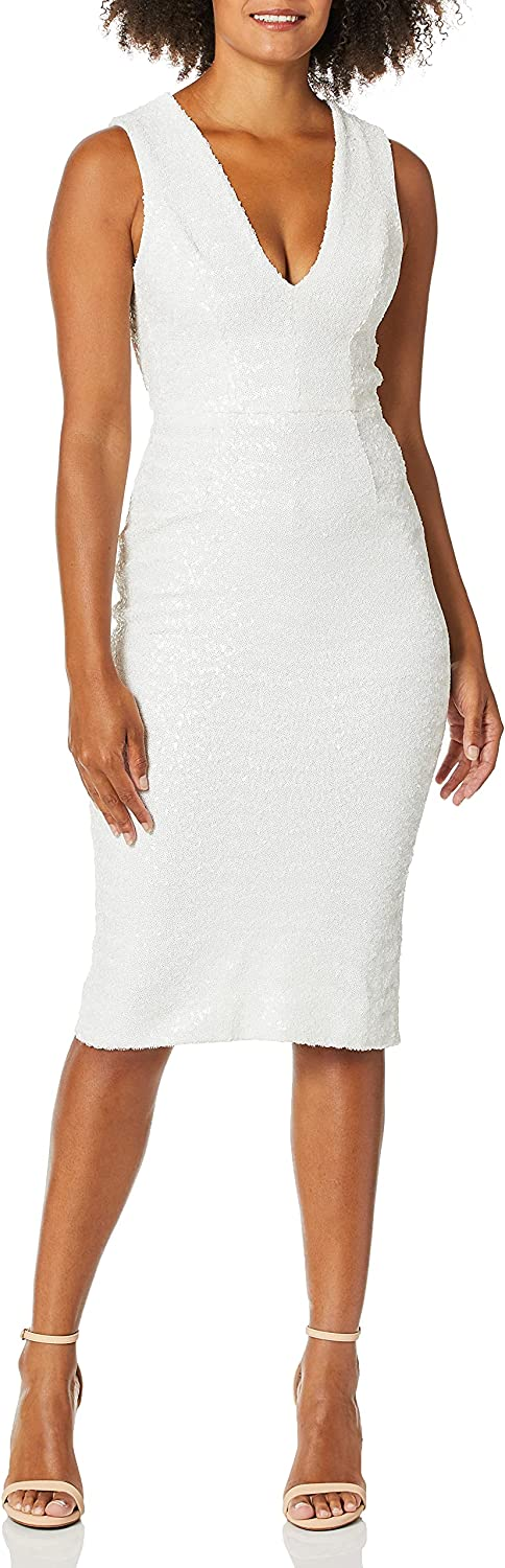 Dress the Population Women's Rani Plunging Sequin Fitted MIDI Sleeveless Sheath Dress, White, S
