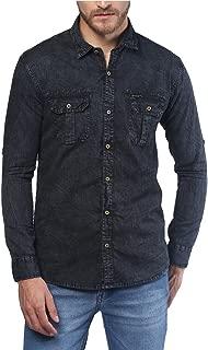 Urbano Fashion Men's Denim Solid Black Casual Shirt