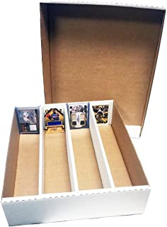 (3) Monster 4-Row Storage Box Holds 3,200 trading cards by MAX PRO 3200ct HALF LID - For Baseball, Football, Hockey, Soccer Cards