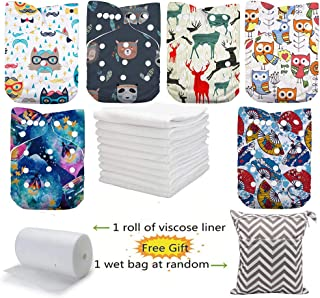 DoDo Bear Cloth Diapers Washable Pocket Nappy, 6pcs Cloth Diapers+6 Inserts +1 Wet Bag +1 Roll Liners (color2)