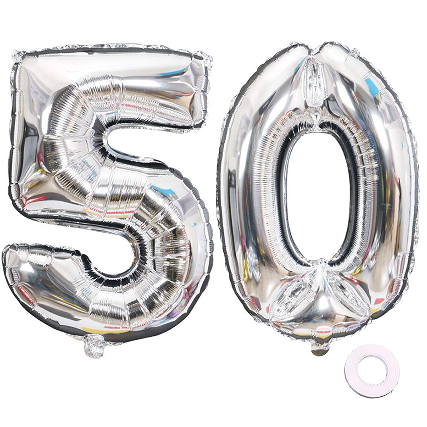 Juland Silver Number 50 Balloons Large Foil Mylar Balloons 40 Inch Giant Jumbo Number Balloons for Birthday Party Decorations