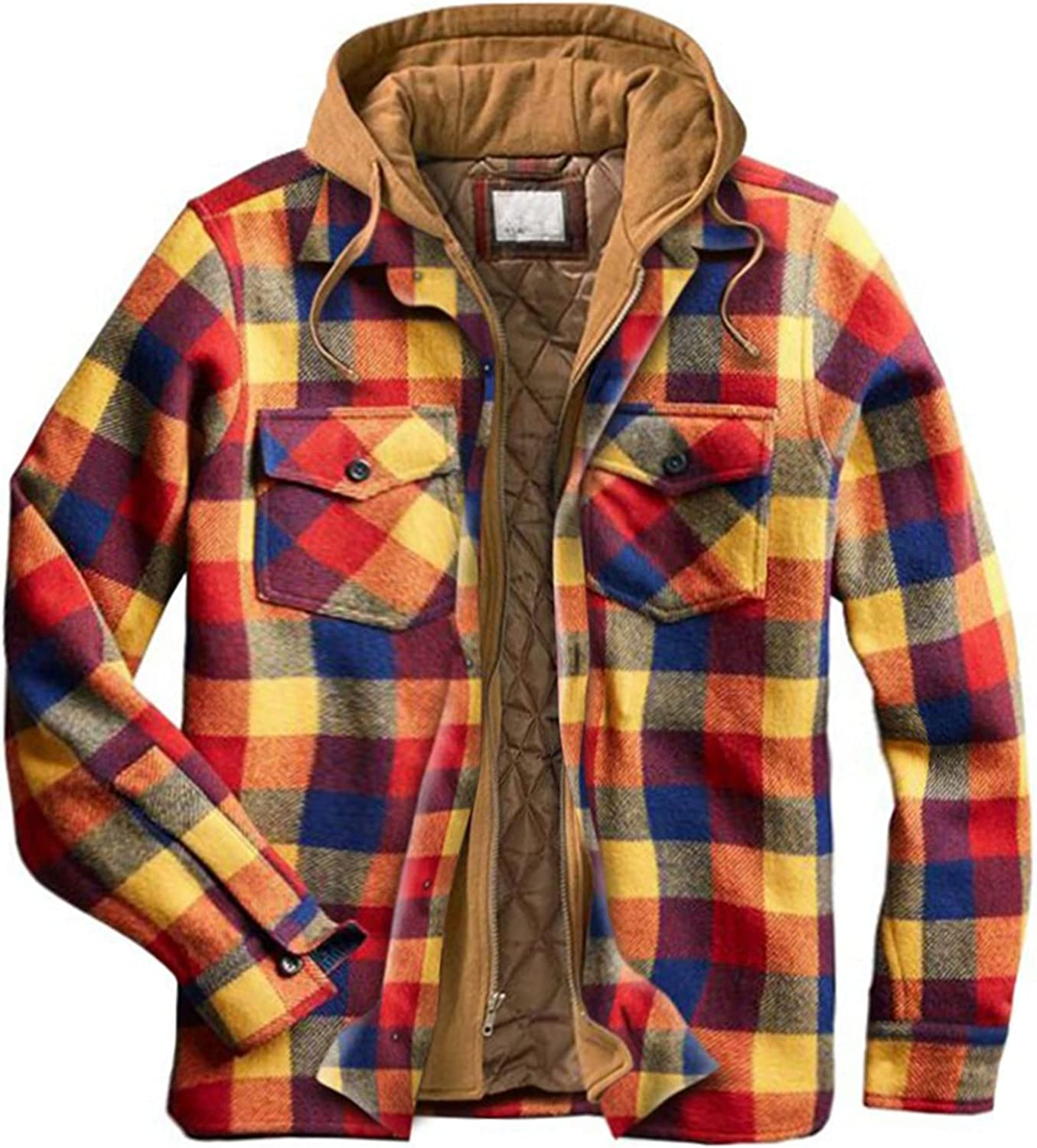 Men's Plaid Stamp Jackets,Long Sleeved Warm Lined Plush Thicken Shirt V135