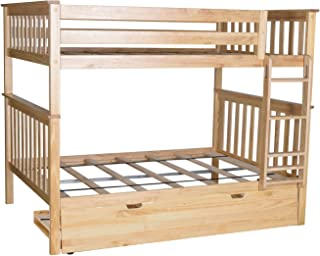 Max & Lily Solid Wood Full over Full Bunk Bed with Trundle Bed, Natural