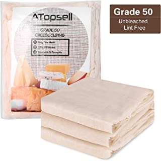 Atopsell Unbleached Cheese Cloths Washable and Reusable Cheese Bags Natural Ultra Fine Cheese Makers for Straining, Cooking,Cheese, Yoghurt and Wine Making,36 Sq Feet (Grade 50)