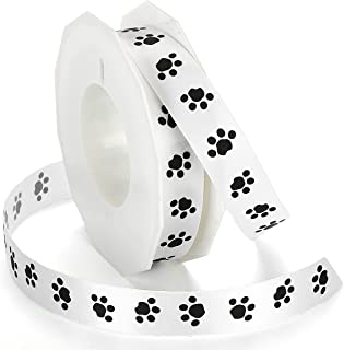 Morex Ribbon Paw Print Satin Ribbon Spool, 7/8-Inch by 20-Yard, Black/White