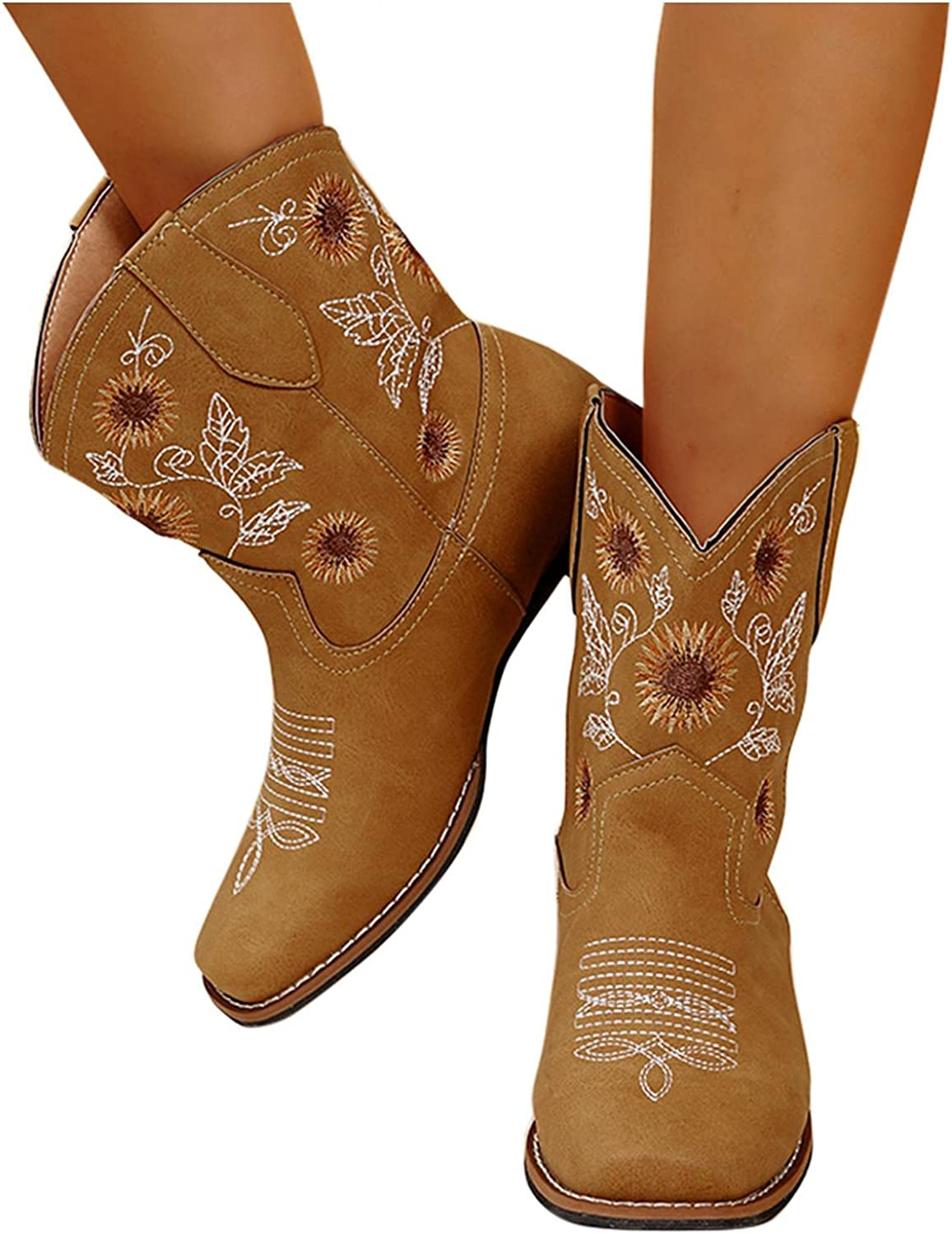 Hbeylia Vintage Western Square Toe Cowboy Bowgirls Boots For Women Bohemian Boho Retro Sunflower Flower Embroidered Chunky Block Low Heels Ankle Booties Wide Mid Calf Knight Riding Boots
