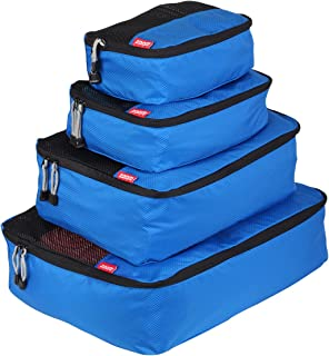 Packing Cube 4 piece Classic Set in Lightweight tear resistant and water resistant ripstop nylon material (Blue)