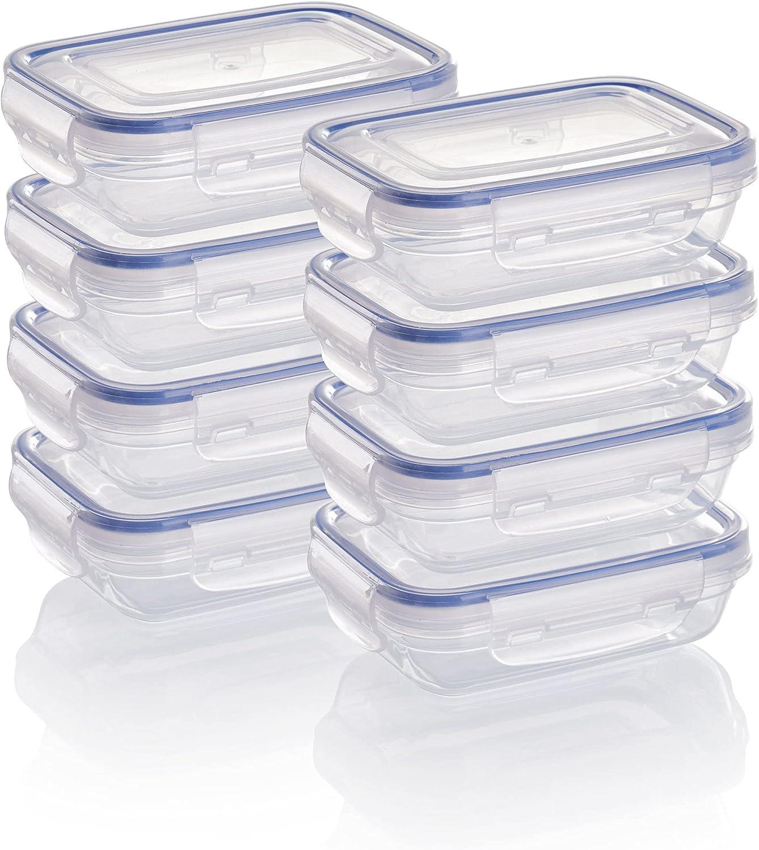 Grizzly Contenedores de Almacenamiento de Alimentos con Tapas - Rectangular - Plano - 310 ml - Juego de 8 - Hermético - antifugas - sin BPA