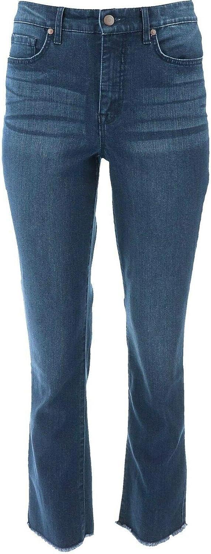 Issac Mizrahi True Denim Straight Leg Frayed Jeans Dark Indigo 24W New A372070