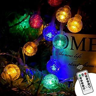 Cadena de luz, TESECU luz decorativa al aire libre 5M 50 LED USB Cadena de Bola Cristal Luz 8 Modes para Exterior, Interior, Jardines, Casas, Boda, Fiesta de Navidad