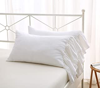 """Meaning4 2-Pack Bright White Pillow Cases Shams Covers with Long Ruffles Shabby Chic Egypt Cotton Queen Size 20""""X30""""Soft Soft"""