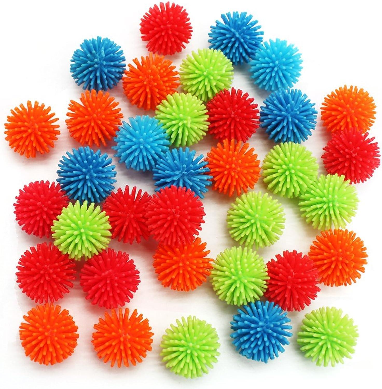 MICHLEY 36pcs Mini Soft Viny Multicolor Porcupine Balls, 1.18