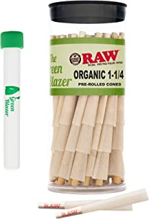 Raw Pre-Rolled Cones Organic 1 1/4: 50 Pack - Hemp Rolling Papers with Filters to Smoke Tobacco Or Roll Cigarettes - Extra...