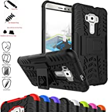 ZenFone 3 Case,Mama Mouth Shockproof Heavy Duty Combo Hybrid Rugged Dual Layer Grip Cover with Kickstand for Asus ZenFone 3 ze552kl Smartphone(with 4 in 1 Packaged),Black