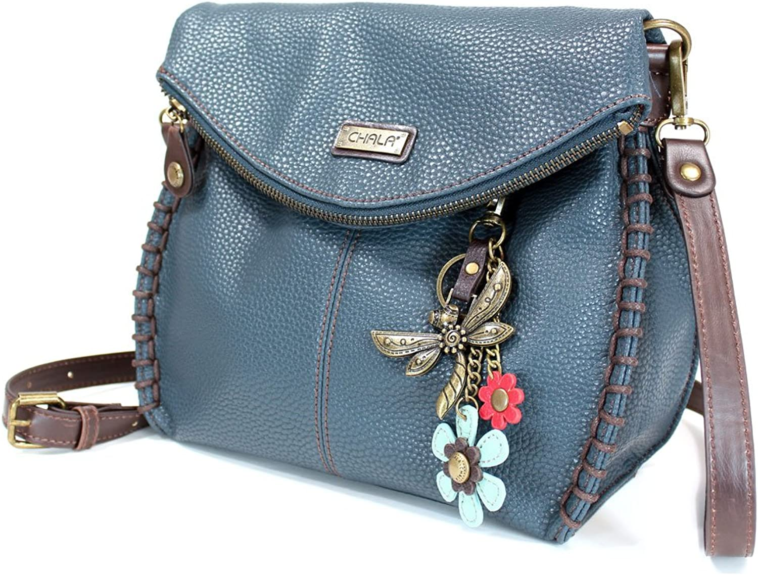 Chala Crossbody with Charming Teal Dragonfly Keychain 9 color options