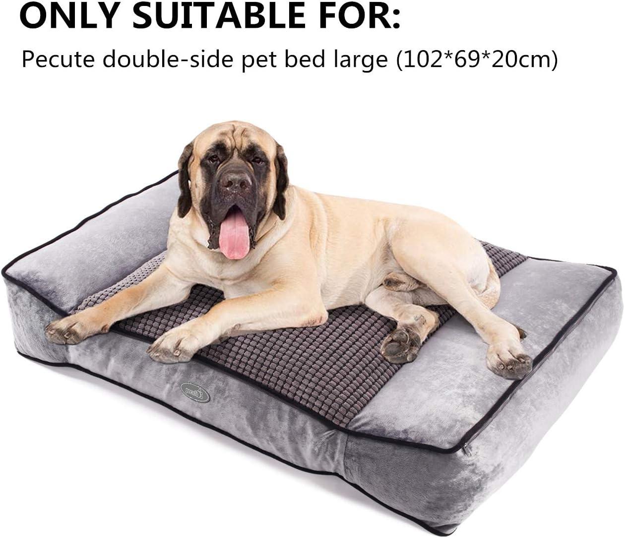 L, Negro Pecute Cubierta deTela de Reemplazo de Cama para Perro Mascotas de Doble Cara