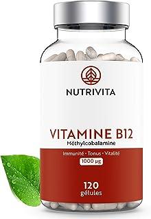 Vitamina B12 1000 μg Metilcobalamina | Alto Dosificación y Absorción Óptima | Disminuye el Cansancio y la Fatiga | Suministro Para 4 Meses | 120 cápsulas | Fabricado en Francia | Nutrivita