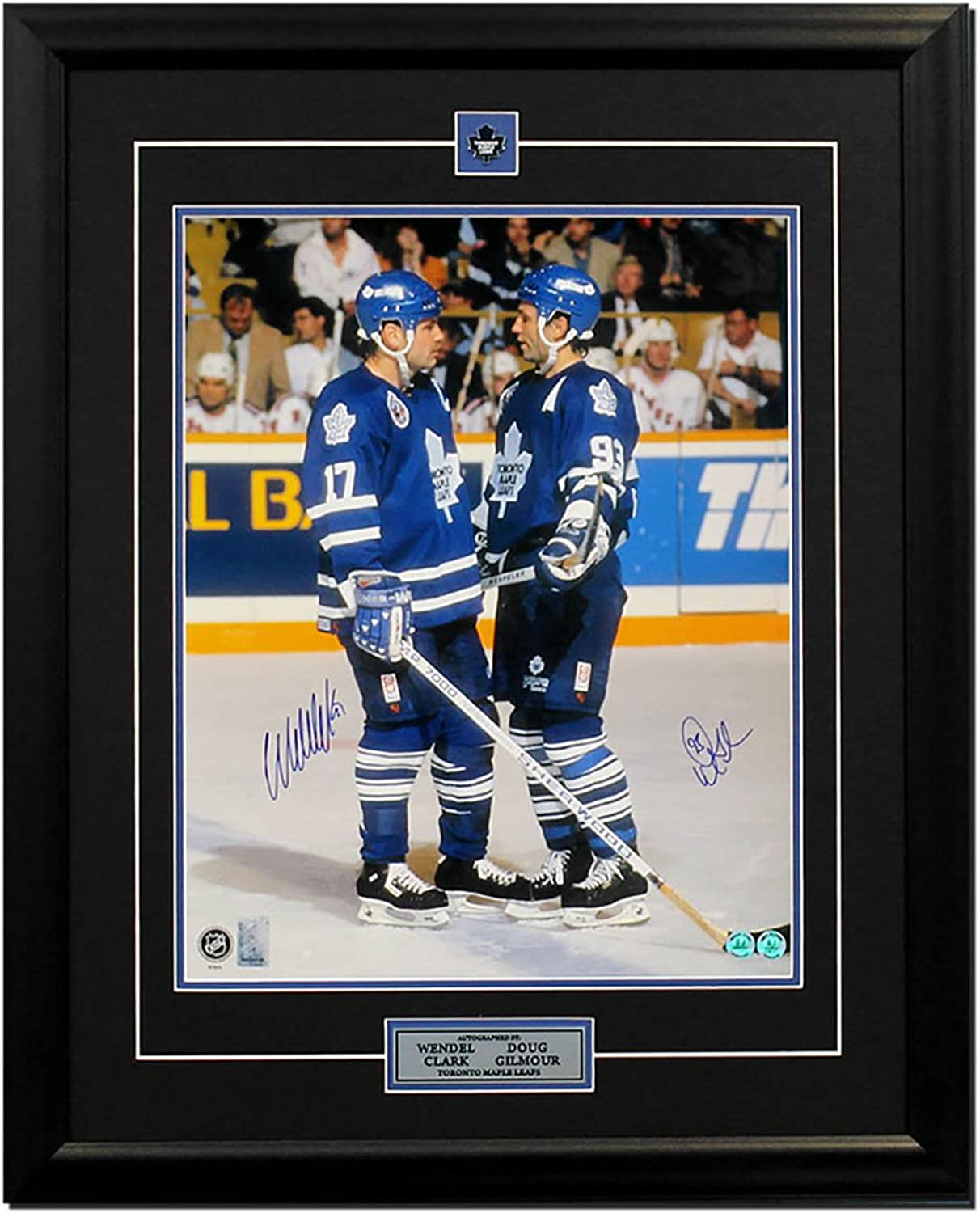 Doug Gilmour & Wendel Clark Tgoldnto Maple Leaf Dual Signed On Ice 25x31 Frame