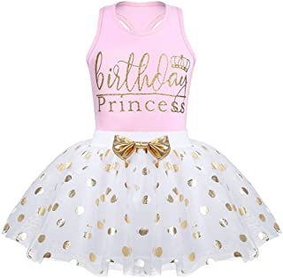 iiniim Toddlers Kids Baby Girls Birthday Outfits Racer-Back Sleeveless Vest with Shinny Polka Dots Tutu Skirt