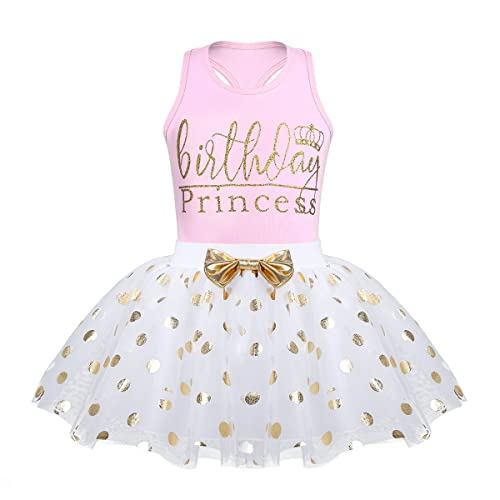 Alvivi Baby Toddlers Girls Fancy Birthday Outfits Racer Back Shirt With Shiny Polka Dots