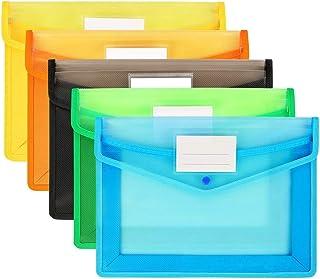 5pcs Pochette Plastique A4,5 Couleurs Enveloppe Transparente Chemise à Bouton Pression Polypropylène Porte-Document Extens...