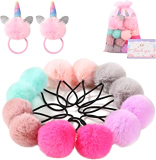 G.C 12 Pcs Fluffy Pom Ball Hair Ties Elastic Ponytail Rope Cute Hair Holders Hair Accessories for Toddler Girls Kids
