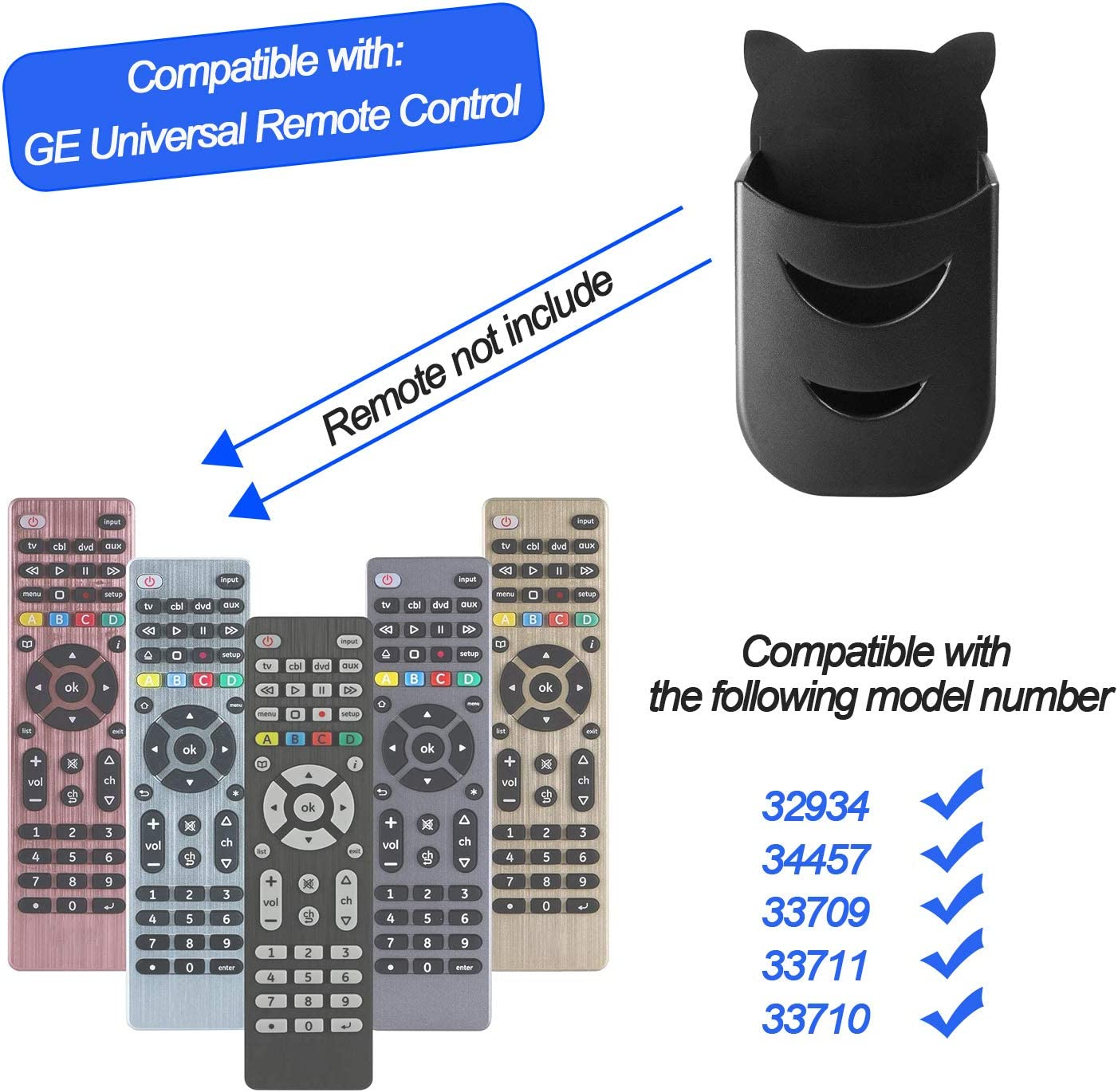 Remote Control Holder for GE Universal Remote Control, TV Remote Control Holder Compatible with GE 4-Device Universal Remote (2 Pack)