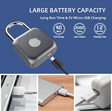 Pothunder Fingerprint Padlock, Smart Padlock, Locker Lock, Biometric Metal Keyless Thumbprint Lock, Waterproof, USB Rechargea