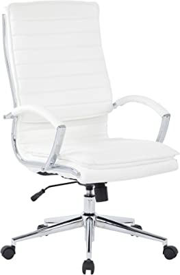 Office Star Faux Leather High Back Managers Chair with Loop Arms and Chrome Base, White