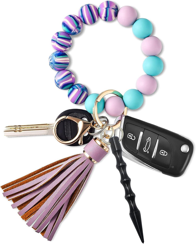 Bracelet Keychains for Women, Silicone Key Ring Bracelet Wristlet Keychain Car Keyring Holder Beaded Bangle Key Chain