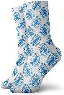 Calcetines de patrón azul blanco tradicional Casual Divertido para botas deportivas Senderismo Running, 30 cm