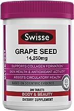 Swisse Ultiboost Grape Seed Supplement | Promotes Skin Health & Collagen Production | Improves Circulation & Potent Antioxidant & Vitamin C | 300 Tablets