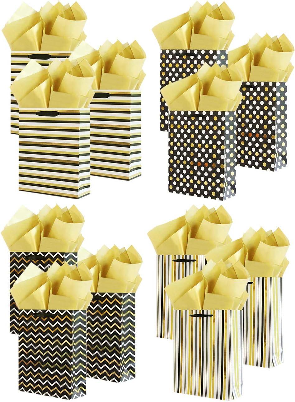 Boston Mall UNIQOOO 12Pcs Assorted Gold Metallic Gift Max 52% OFF Bulk Bags Large Foil