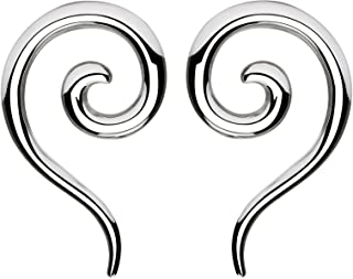 BYB Plugs Pair of Stainless Steel Spiral and Tail Ear Tapers
