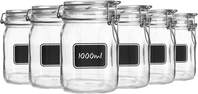 Bormioli Rocco Super Special SALE held 6pc Lavagna Glass Chalkboard Ranking TOP1 Set Storage with Jar